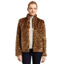 French Connection Womens Leopard Faux Fur Coat